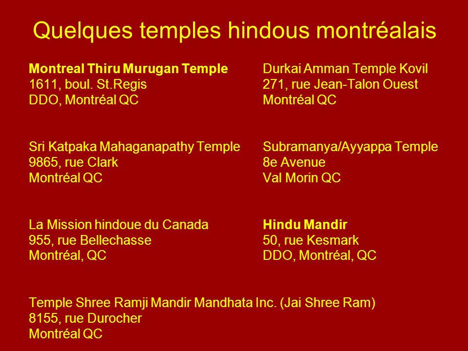Quelques temples hindous montréalais