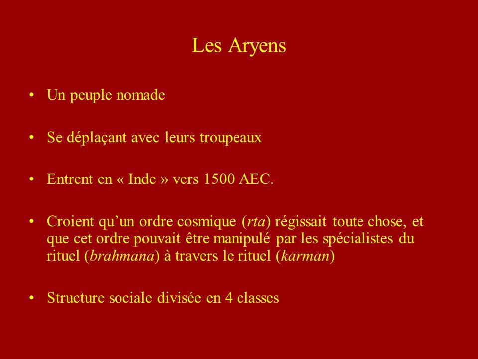 Les Aryens Un peuple nomade Se déplaçant avec leurs troupeaux