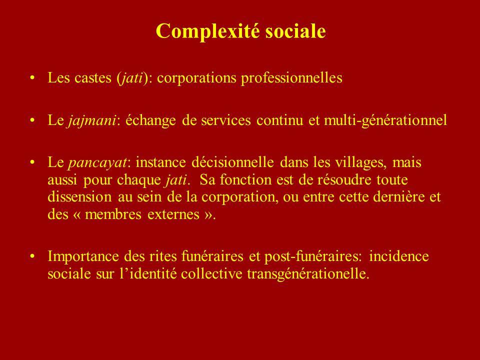 Complexité sociale Les castes (jati): corporations professionnelles