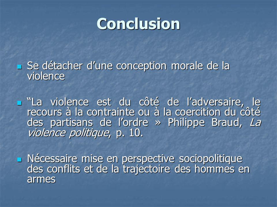 Conclusion Se détacher d'une conception morale de la violence