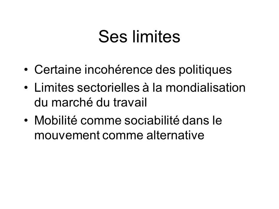 Ses limites Certaine incohérence des politiques