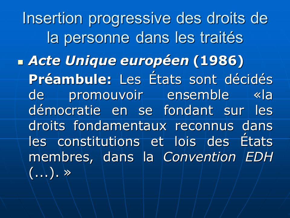 Insertion progressive des droits de la personne dans les traités