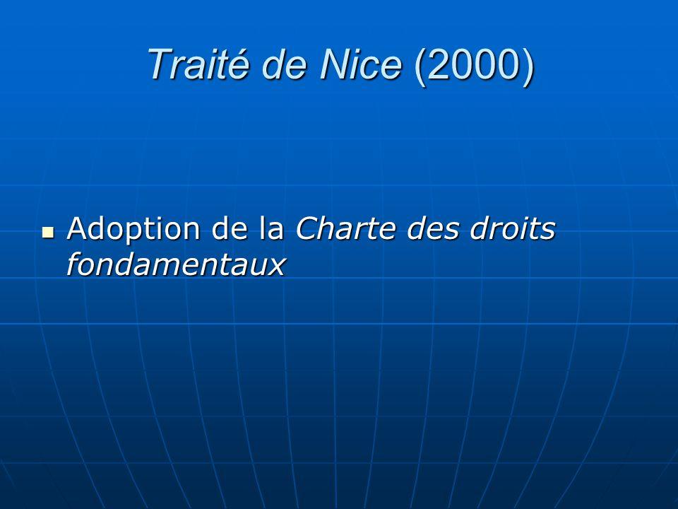 Traité de Nice (2000) Adoption de la Charte des droits fondamentaux