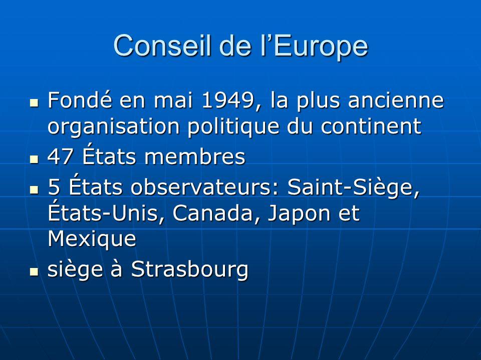 Conseil de l'Europe Fondé en mai 1949, la plus ancienne organisation politique du continent. 47 États membres.