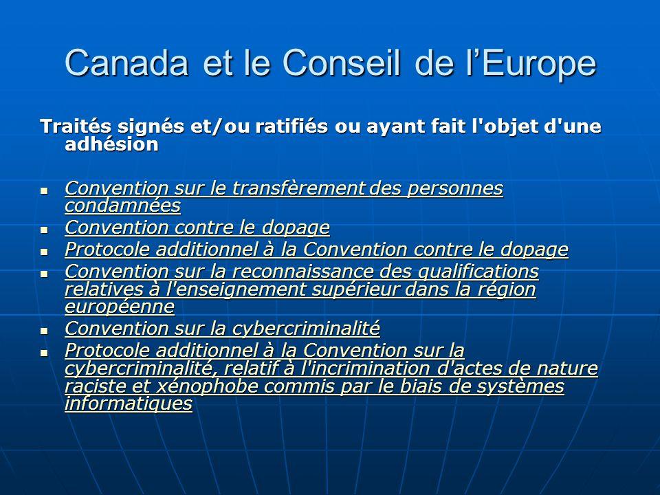 Canada et le Conseil de l'Europe