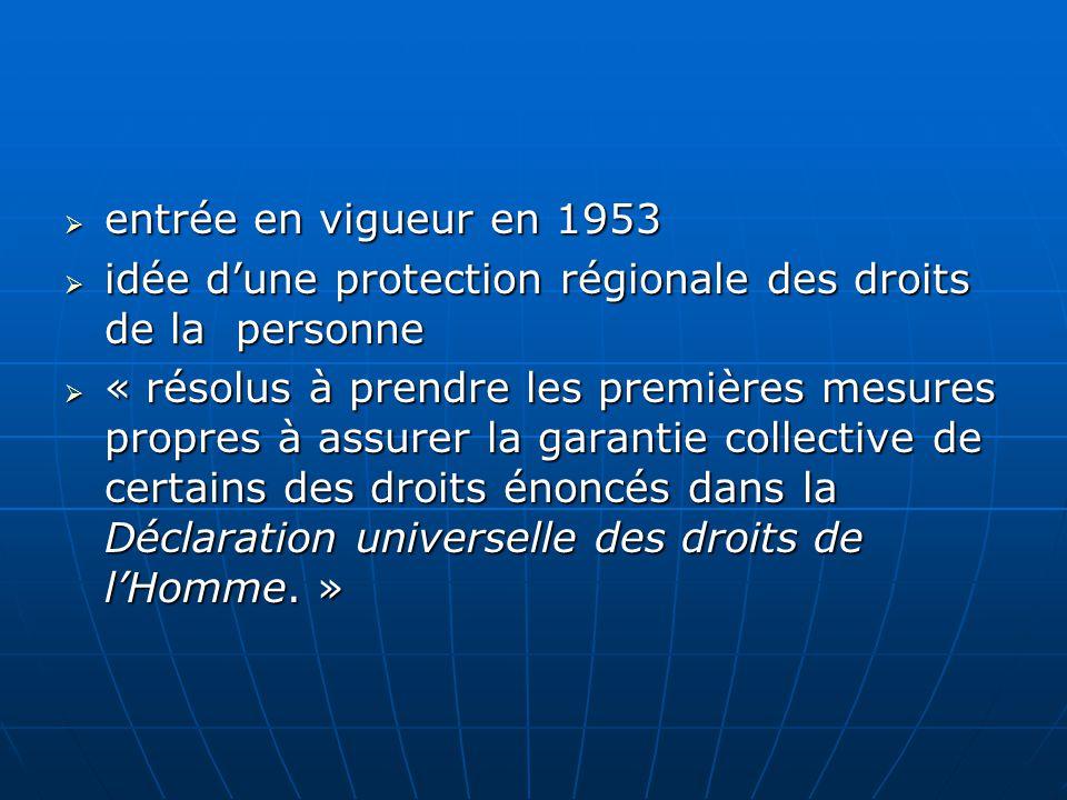 entrée en vigueur en 1953 idée d'une protection régionale des droits de la personne.