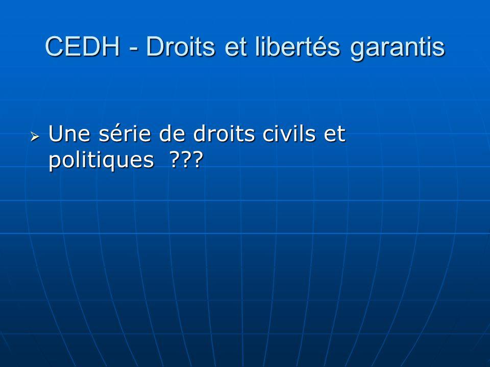 CEDH - Droits et libertés garantis