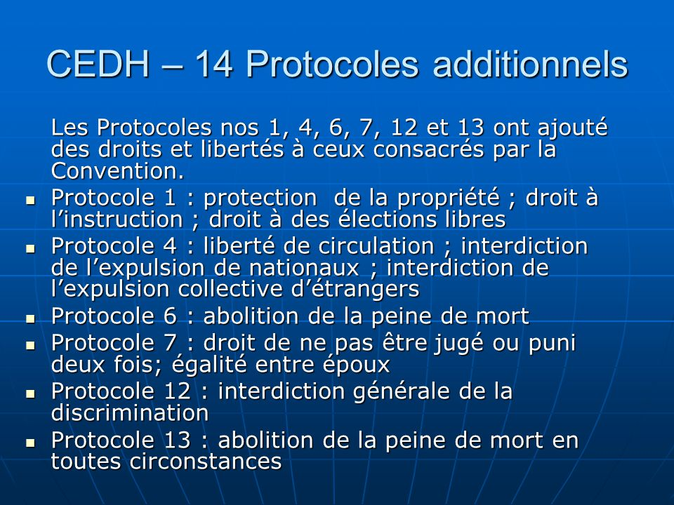 CEDH – 14 Protocoles additionnels