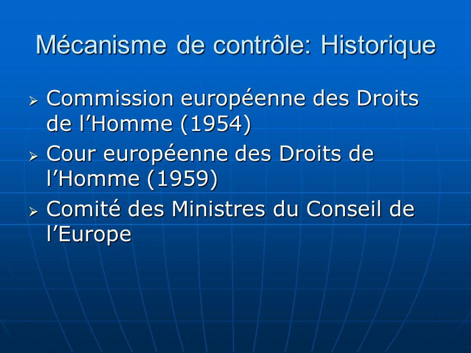 Mécanisme de contrôle: Historique