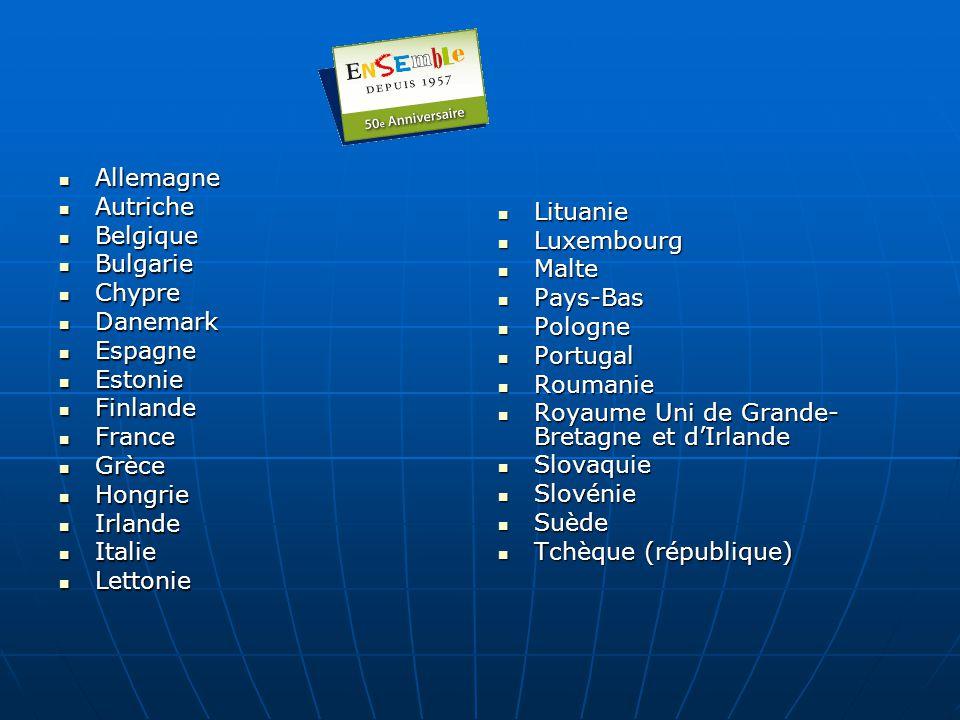 Allemagne Autriche. Belgique. Bulgarie. Chypre. Danemark. Espagne. Estonie. Finlande. France.