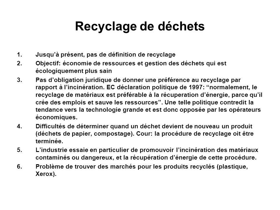 Recyclage de déchets Jusqu'à présent, pas de définition de recyclage