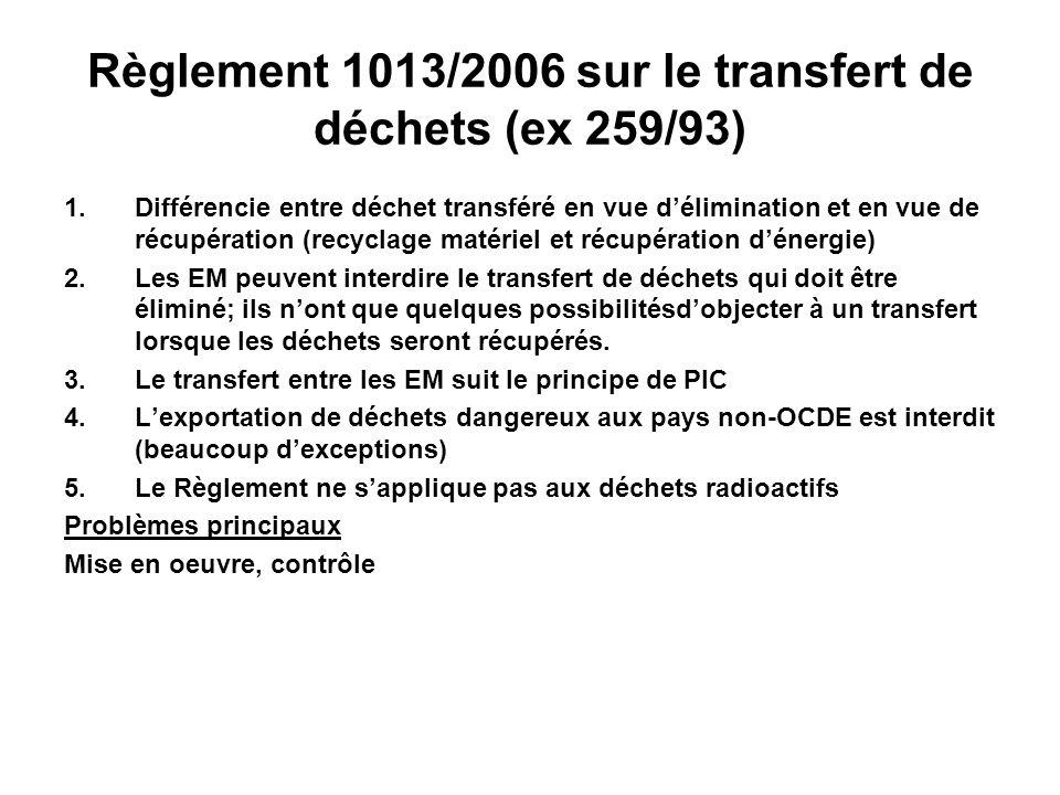 Règlement 1013/2006 sur le transfert de déchets (ex 259/93)