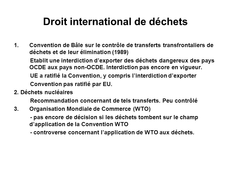 Droit international de déchets