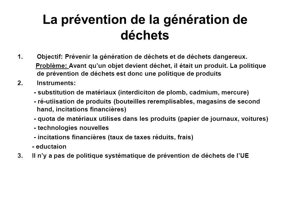 La prévention de la génération de déchets
