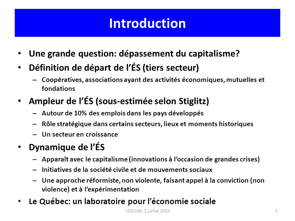 Introduction Une grande question: dépassement du capitalisme