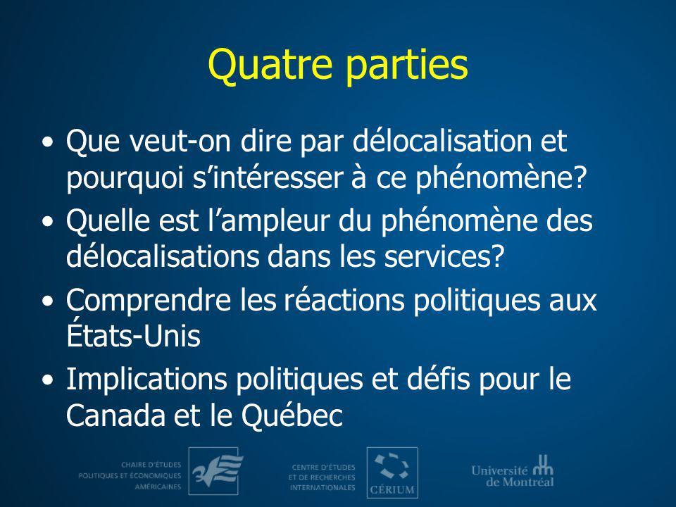 Quatre parties Que veut-on dire par délocalisation et pourquoi s'intéresser à ce phénomène