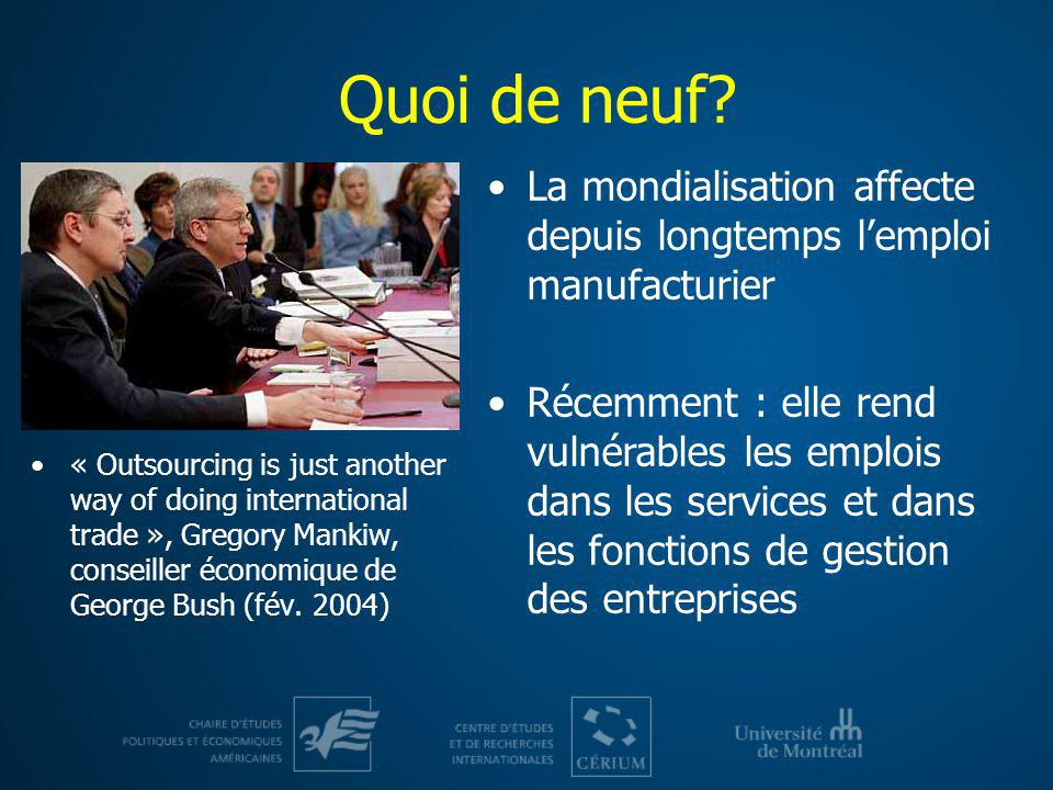 Quoi de neuf « Outsourcing is just another way of doing international trade », Gregory Mankiw, conseiller économique de George Bush (fév. 2004)