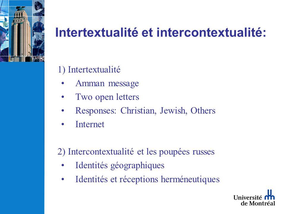 Intertextualité et intercontextualité: