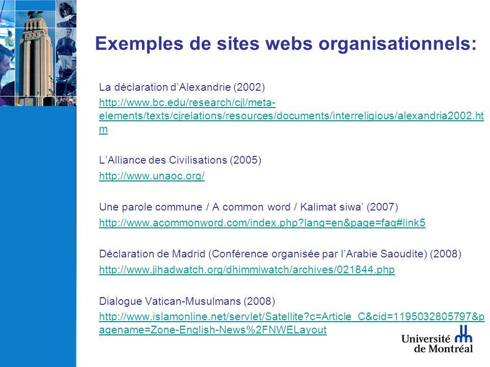 Exemples de sites webs organisationnels:
