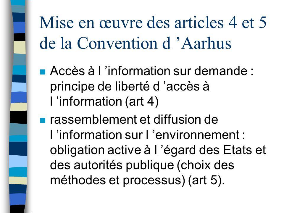 Mise en œuvre des articles 4 et 5 de la Convention d 'Aarhus