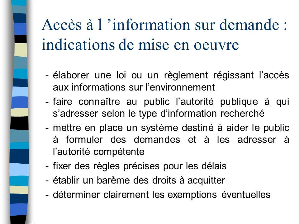 Accès à l 'information sur demande : indications de mise en oeuvre