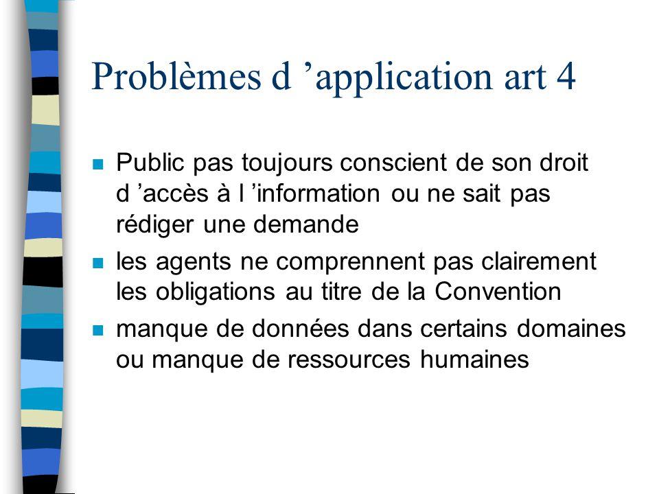 Problèmes d 'application art 4