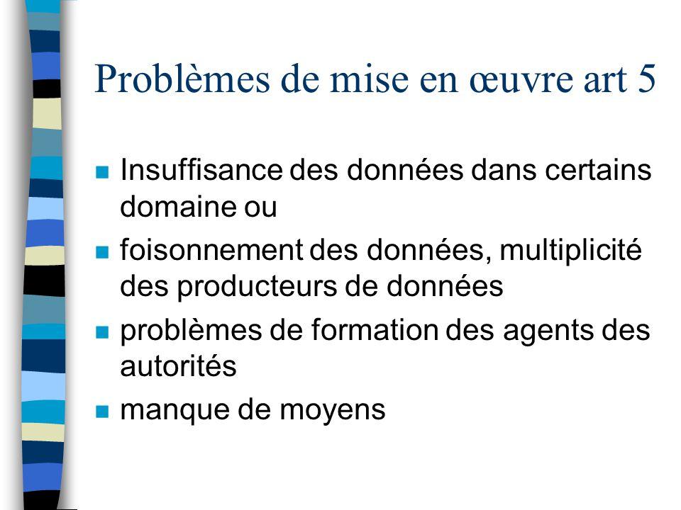Problèmes de mise en œuvre art 5