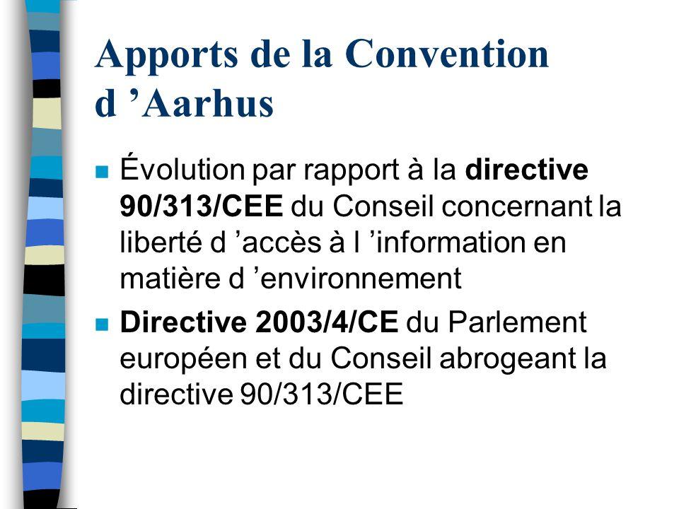 Apports de la Convention d 'Aarhus