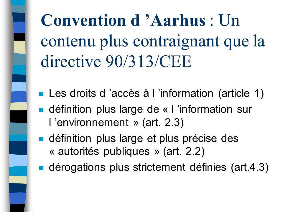 Convention d 'Aarhus : Un contenu plus contraignant que la directive 90/313/CEE
