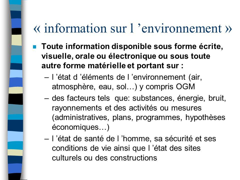 « information sur l 'environnement »
