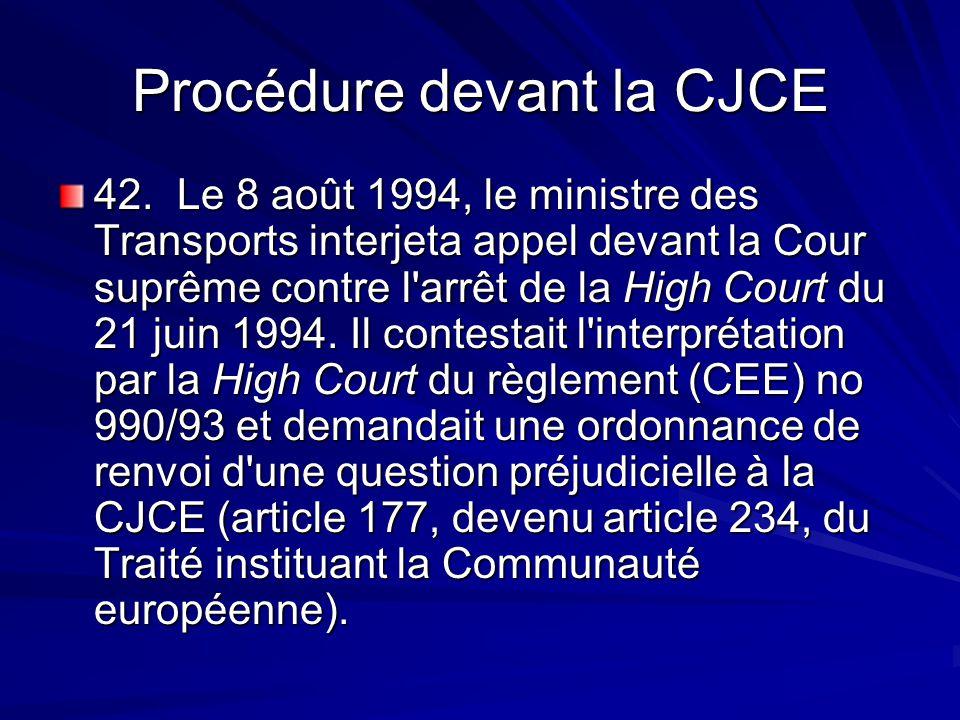 Procédure devant la CJCE