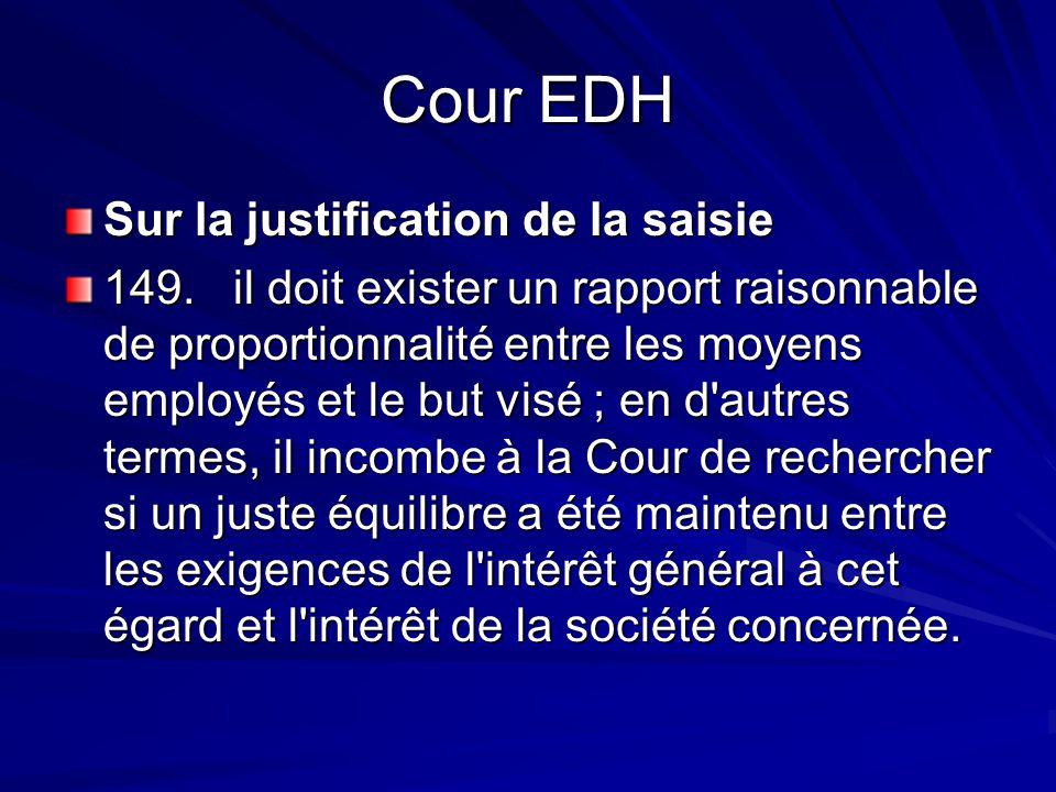 Cour EDH Sur la justification de la saisie