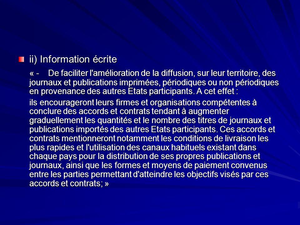 ii) Information écrite