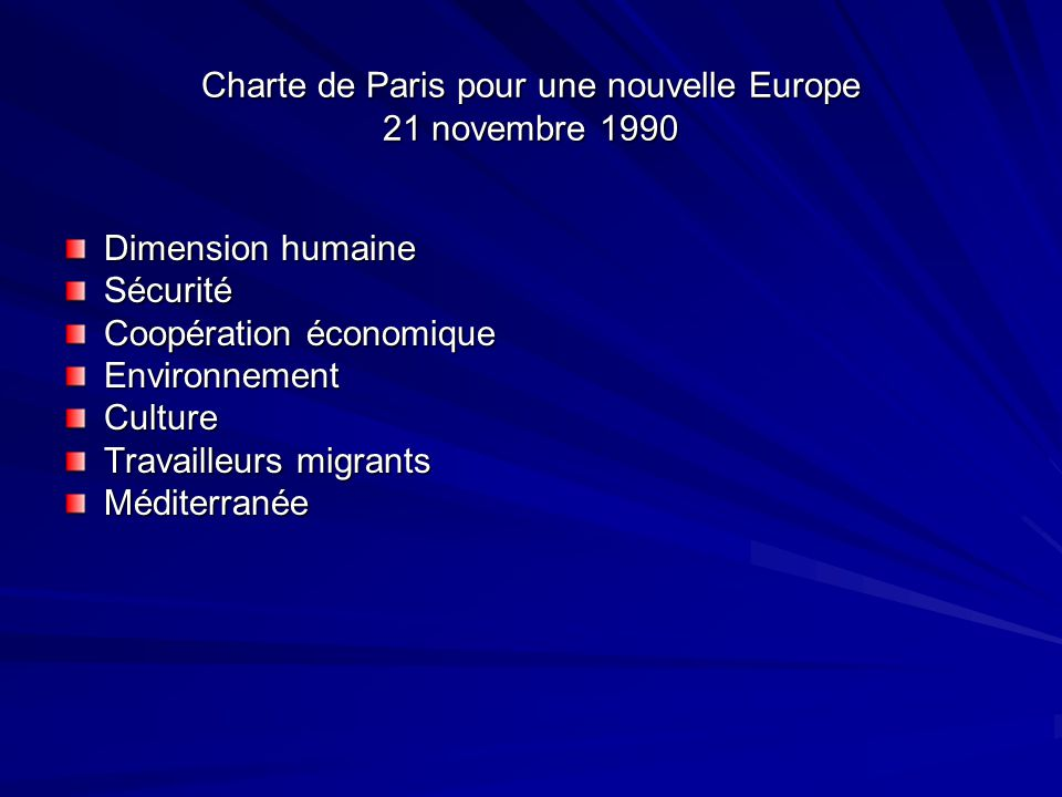 Charte de Paris pour une nouvelle Europe 21 novembre 1990