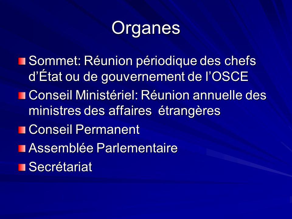 Organes Sommet: Réunion périodique des chefs d'État ou de gouvernement de l'OSCE.