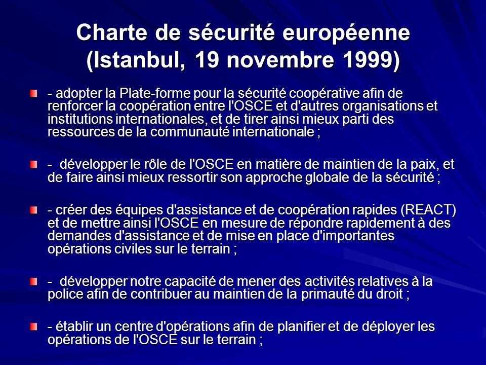 Charte de sécurité européenne (Istanbul, 19 novembre 1999)