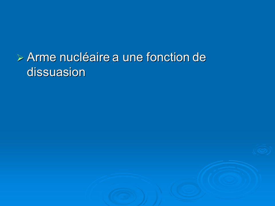Arme nucléaire a une fonction de dissuasion