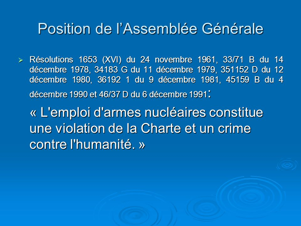 Position de l'Assemblée Générale