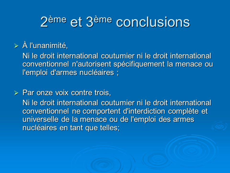 2ème et 3ème conclusions À l unanimité,