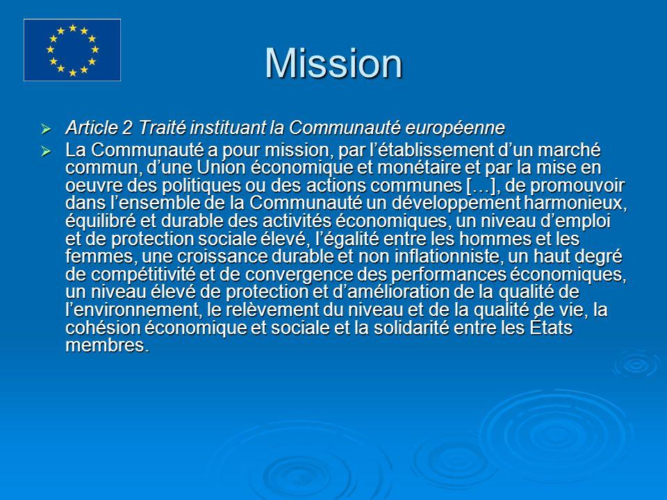 Mission Article 2 Traité instituant la Communauté européenne