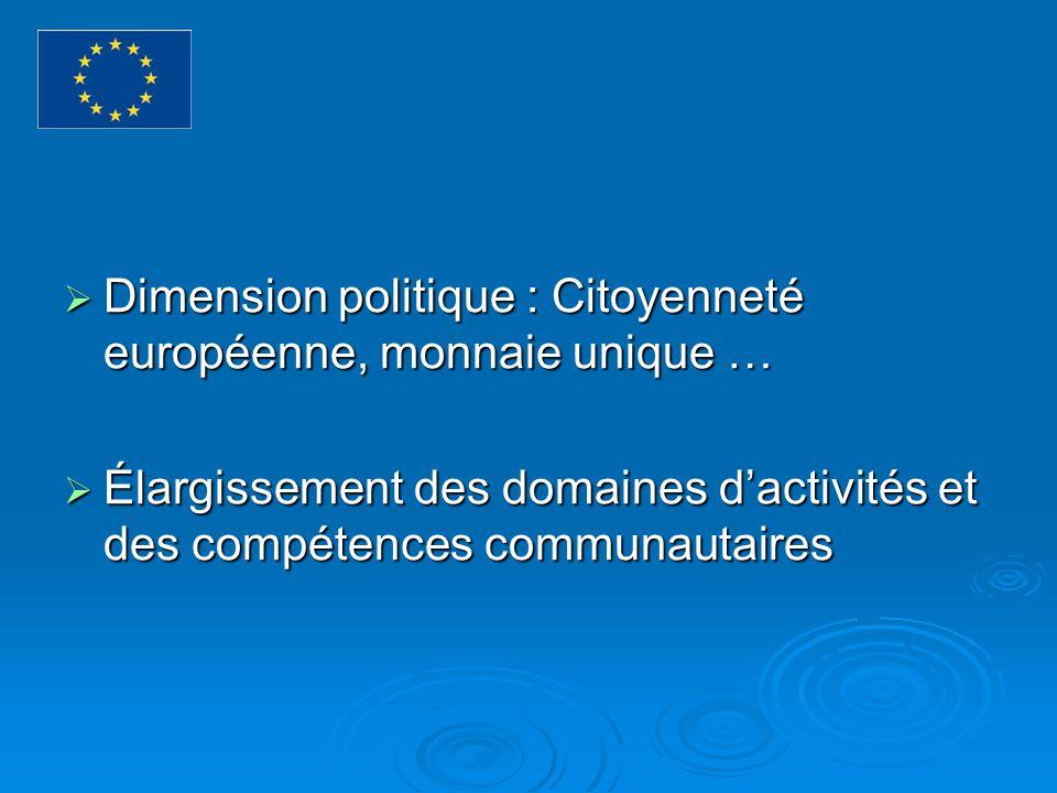 Dimension politique : Citoyenneté européenne, monnaie unique …