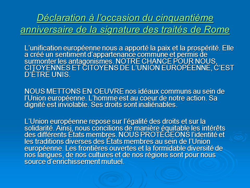Déclaration à l'occasion du cinquantième anniversaire de la signature des traités de Rome