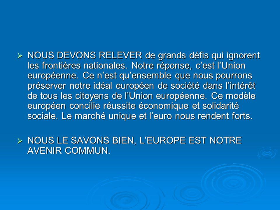 NOUS DEVONS RELEVER de grands défis qui ignorent les frontières nationales. Notre réponse, c'est l'Union européenne. Ce n'est qu'ensemble que nous pourrons préserver notre idéal européen de société dans l'intérêt de tous les citoyens de l'Union européenne. Ce modèle européen concilie réussite économique et solidarité sociale. Le marché unique et l'euro nous rendent forts.