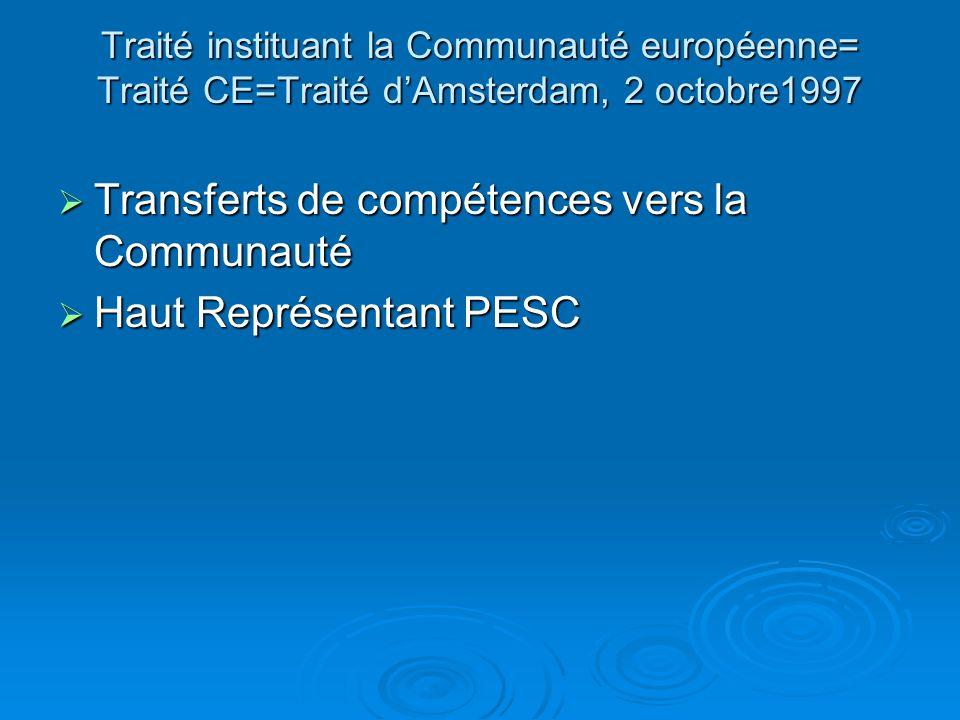 Transferts de compétences vers la Communauté Haut Représentant PESC