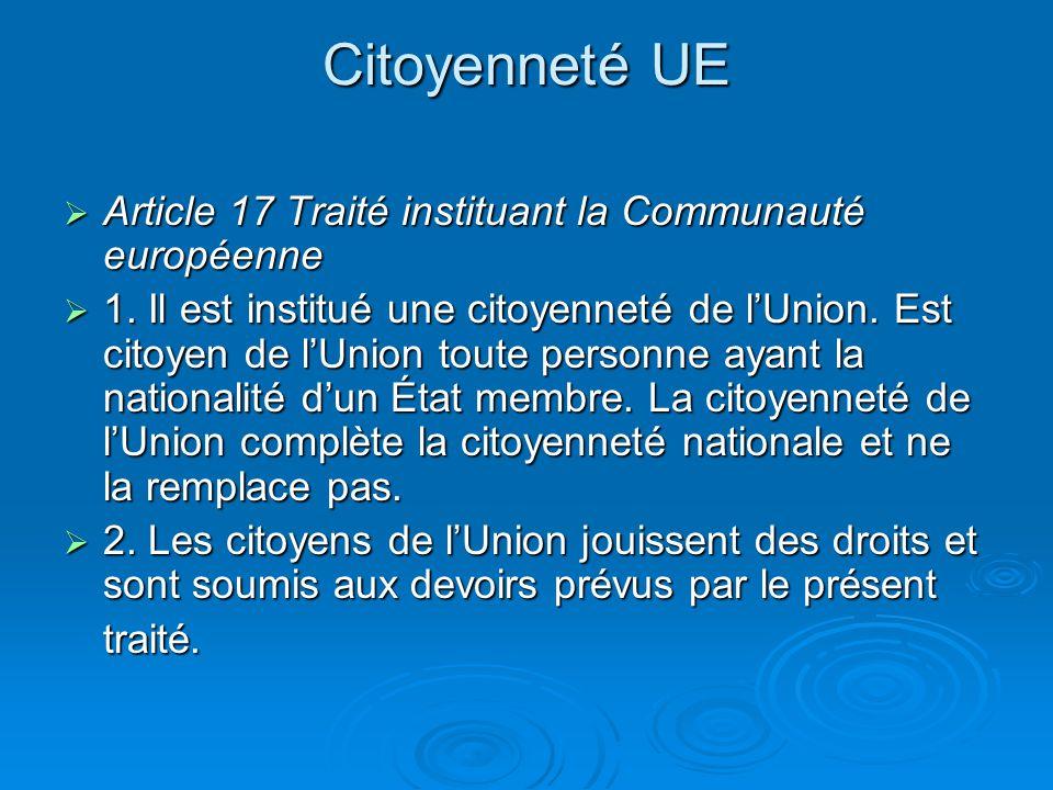 Citoyenneté UE Article 17 Traité instituant la Communauté européenne