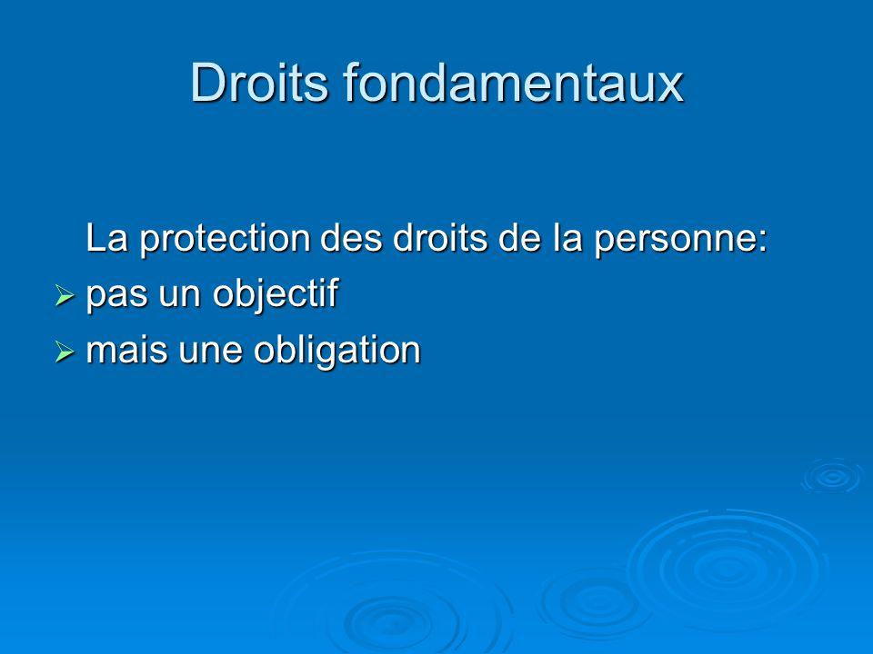 Droits fondamentaux La protection des droits de la personne: