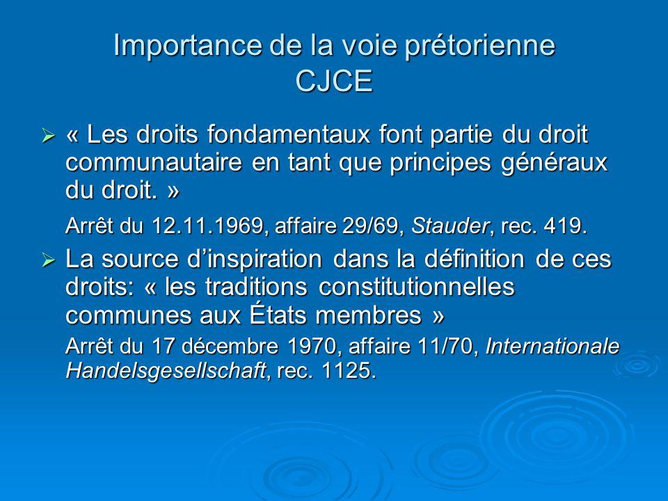 Importance de la voie prétorienne CJCE