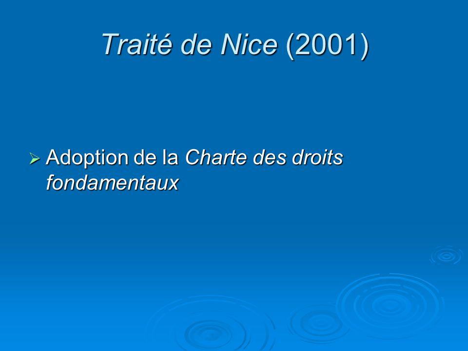 Traité de Nice (2001) Adoption de la Charte des droits fondamentaux