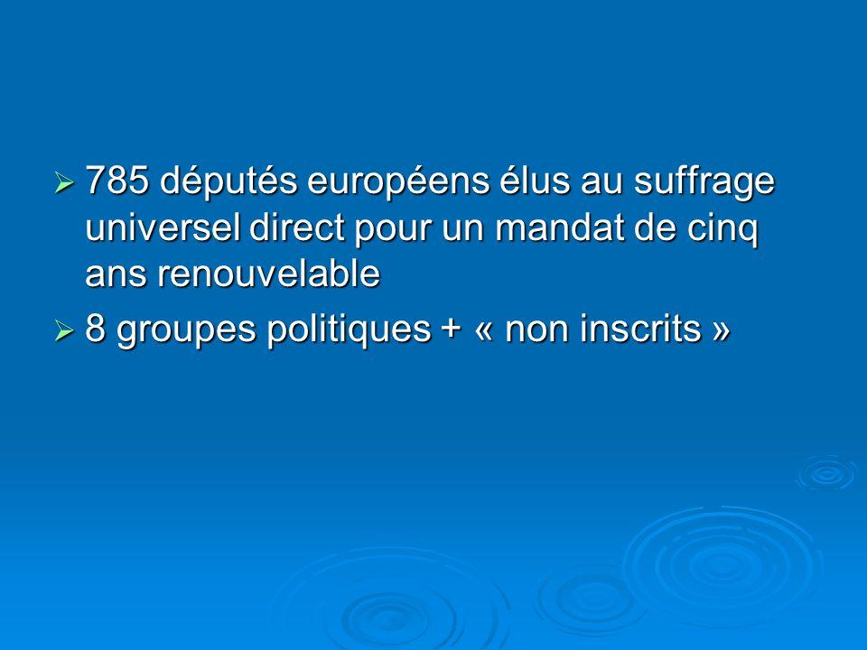 785 députés européens élus au suffrage universel direct pour un mandat de cinq ans renouvelable