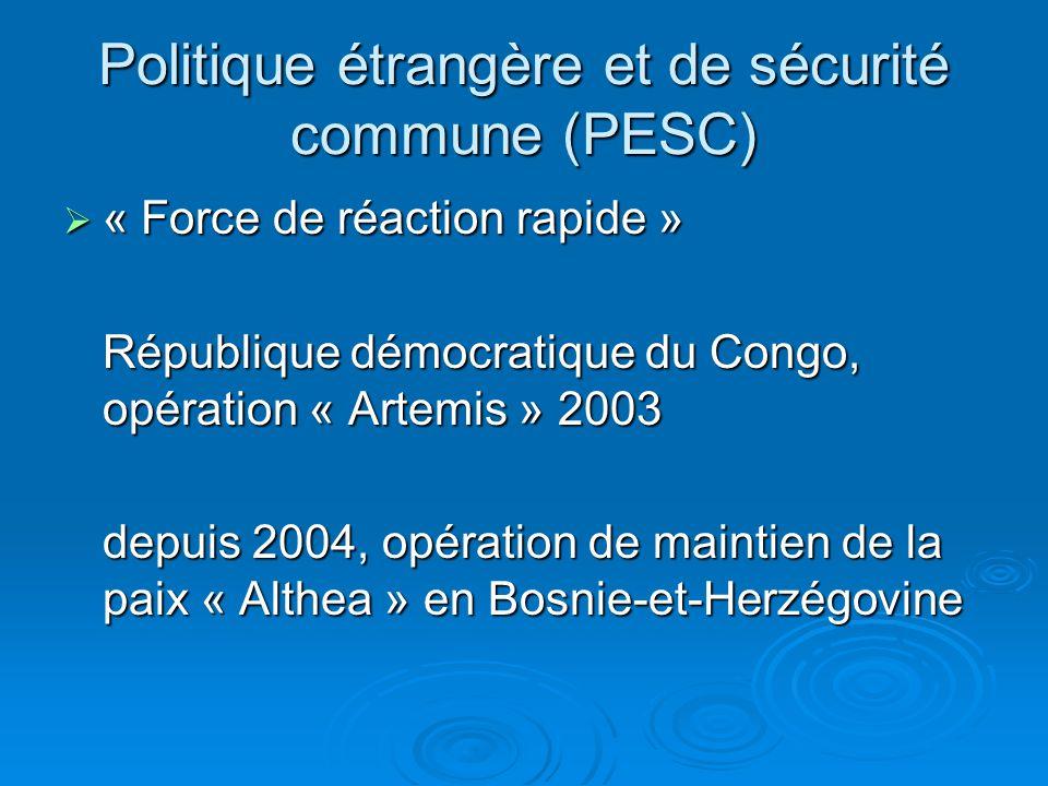 Politique étrangère et de sécurité commune (PESC)